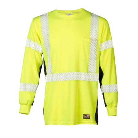 ML Kishigo Flame Resistant Premium Black Series FR Long Sleeve T-Shirt - 3XLarge -  Lime - F4063