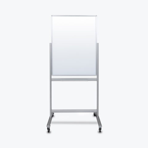 "Luxor 30"" x 40"" Double-Sided Mobile Magnetic Glass Marker Board 33""W x 24""D x 72""H (White) - MMGB3040"