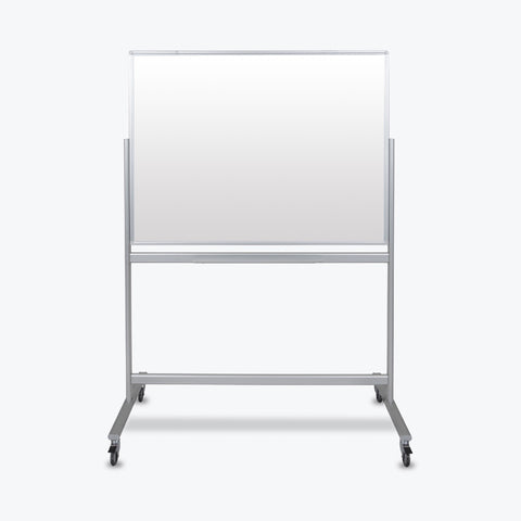 "Luxor 48"" x 36"" Double-Sided Mobile Magnetic Glass Marker Board 51""W x 24""D x 72""H (White) - MMGB4836"
