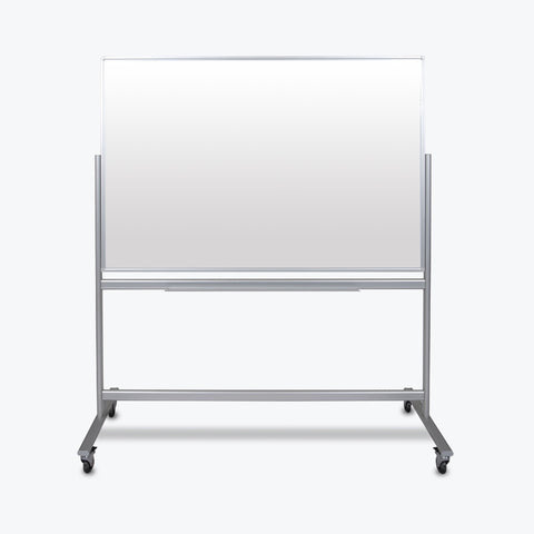 "Luxor 60"" x 40"" Double-Sided Mobile Magnetic Glass Marker Board 63""W x 24""D x 72""H (White) - MMGB6040"