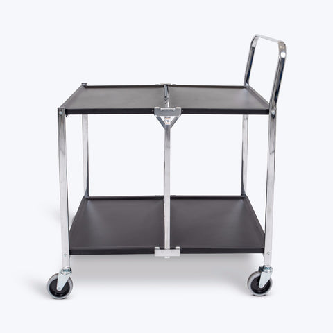 "Luxor 2-Shelf Collapsible Metal Cart 33.75""W x 19.5""D x 39.5""H (Black) - MSCC-2"