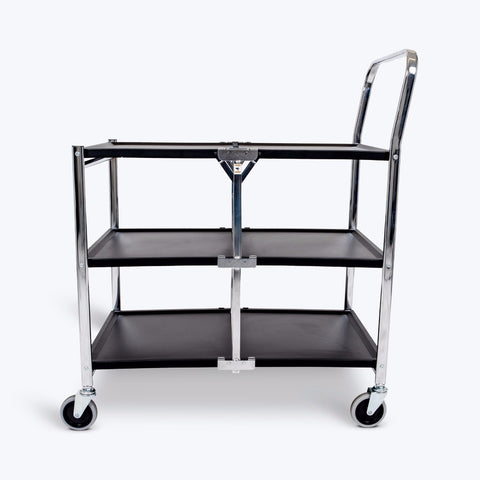 "Luxor 3-Shelf Collapsible Metal Cart 33.75""W x 19.5""D x 39.5""H (Black) - MSCC-3"