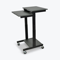 "Luxor 3-Shelf Adjustable Height Presentation Workstation 24""W x 31""D x 39"" to 45""H (Gray/Black) - PS3945"