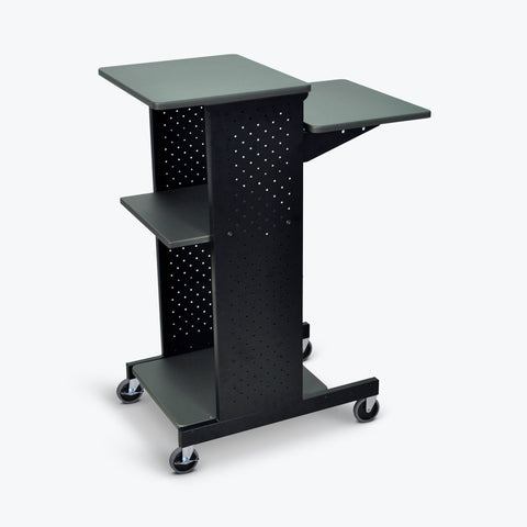 "Luxor 4-Shelf Mobile Presentation Station 18""W X 30"" D X 40.25""H (Gray/Black) - PS4000"