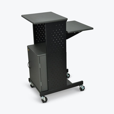 "Luxor 4-Shelf Mobile Presentation Station w/ Cabinet 18""W X 30"" D X 40.25""H (Gray/Black) - PS4000C"