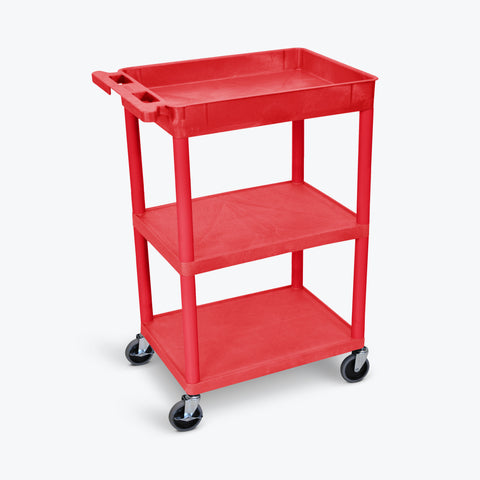 "Luxor 24"" x 18"" 3-Shelf Tub Cart with Tub Top, Flat Middle and Bottom (Red) - RDSTC122RD"