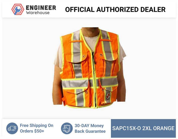 Safety Apparel Party Chief Survey Vest Class 2XL (Orange) - PC15X-O 2XL ORANGE