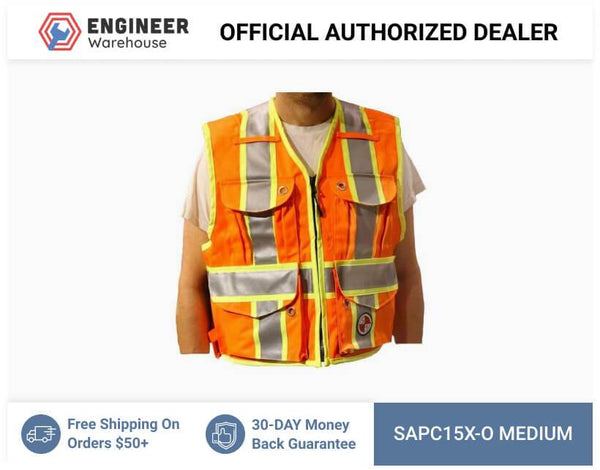 Safety Apparel Party Chief Survey Vest Class Medium (Orange) - PC15X-O MED ORANGE