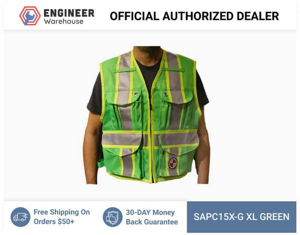 Safety Apparel Party Chief Survey Vest Class XL (Green) - PC15X-G XL GREEN