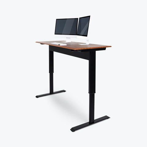 "Luxor 56"" Pneumatic Adjustable Height Standing Desk 56""W x 29.5""D x 27.5"" to 44.5""H (Black/Teak) - SPN56F-BK/TK"