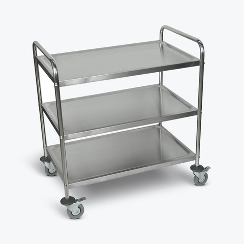 "Luxor Stainless Steel 3-Shelf Utility Cart 33 1/2""W x 21""D x 37""H (Silver) - ST-3"