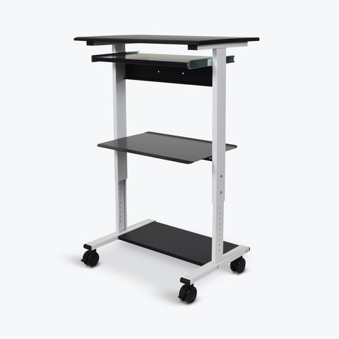 "Luxor 3-Shelf Adjustable Mobile Stand-Up Workstation 29.5""W x 20""D x 34.5"" to 45.5""H (Black/Silver) - STAND-WS30"