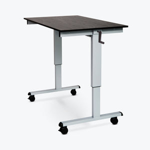 "Luxor High-Speed Crank-Adjustable Stand-Up Desk 47.25""W x 29.5""D x 29.5"" to 45.25""H (Silver/Black) - STANDCF48-AG/BO"