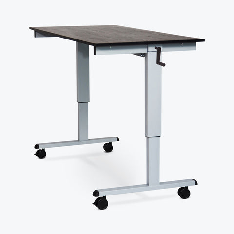"Luxor 60"" Crank Adjustable Stand-Up Desk (Black Oak Desk, Silver Frame) - STANDCF60-AG/BO"