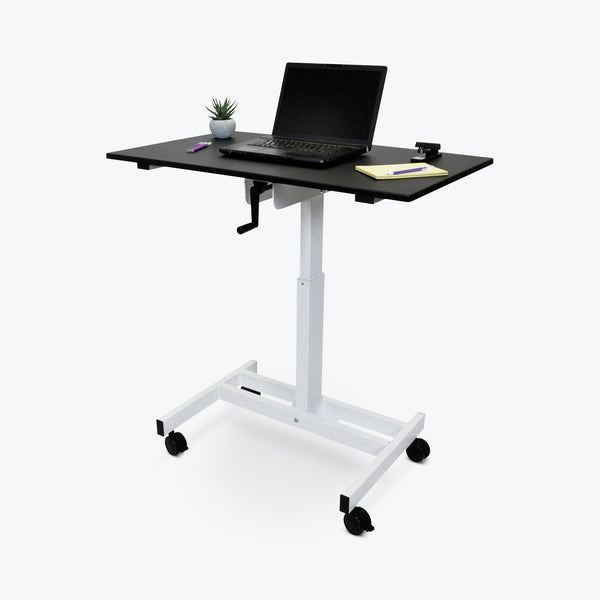 "Luxor Single-Column Crank-Adjustable Stand-Up Desk 9.375""W x 23.625""D x 30"" to 45.25""H (Black/White) - STANDUP-SC40-WB"