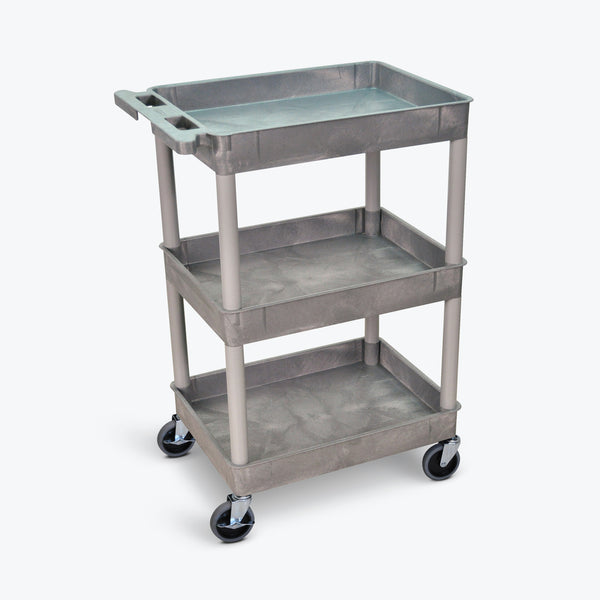 "Luxor 3-Tub Shelf Cart 24""W x 18""D x 36.5""H (Gray) - STC111-G"