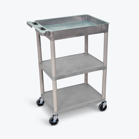 "Luxor 24"" x 18"" 3-Shelf Tub Cart with Tub Top, Flat Middle & Bottom Shelves (Gray) - STC122-G"