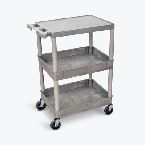 "Luxor 24"" x 18"" 3-Shelf Tub Cart with Flat Top, Tub Middle & Bottom Shelves (Gray) - STC211-G"