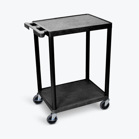 "Luxor 24"" x 18"" 2-Flat Shelf Cart (Black) - STC22-B"