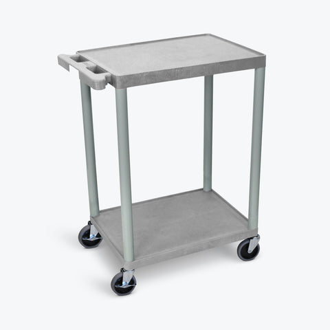 "Luxor 24"" x 18"" 2-Flat Shelf Cart (Gray) - STC22-G"