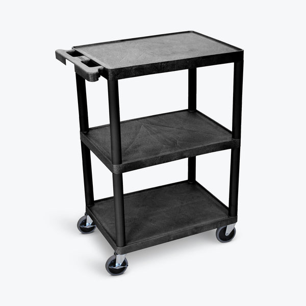 "Luxor 24"" x 18"" 3-Flat Shelf Cart (Black) - STC222-B"