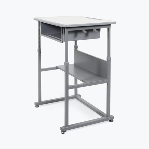 Luxor Manual Adjustable Sit/Stand Desk (Gray) - STUDENT-M
