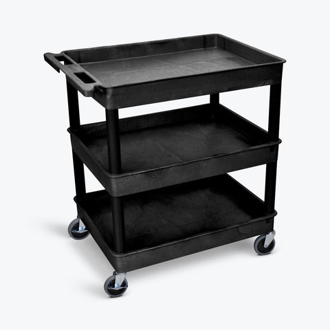 "Luxor 32"" x 24"" 3-Shelf Large Tub Cart with 4"" Casters (Black) - TC111-B"