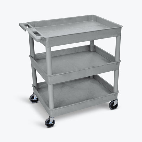"Luxor 32"" x 24"" 3-Shelf Large Tub Cart with 4"" Casters (Gray) - TC111-G"