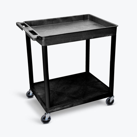 "Luxor 32"" x 24"" 2-Shelf Large Tub Cart with Tub Top & Flat Bottom (Black) - TC12-B"