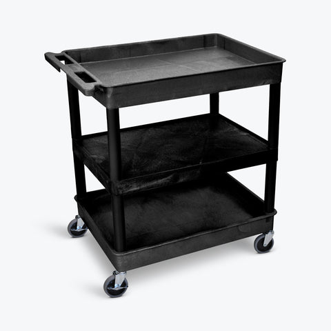 "Luxor 32"" x 24"" 3-Shelf Large Tub Cart with Tub Top & Bottom Shelves, Flat Middle (Black) - TC121-B"