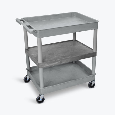 "Luxor 32"" x 24"" 3-Shelf Large Tub Cart with Tub Top & Bottom Shelves, Flat Middle (Gray) - TC121-G"