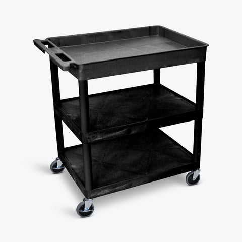 "Luxor 32"" x 24"" 3-Shelf Large Tub Cart with Tub Top, Flat Middle & Bottom Shelves (Black) - TC122-B"
