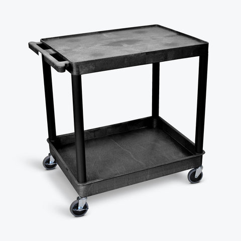 "Luxor 32"" x 24"" 2-Shelf Large Tub Cart (Black) - TC21-B"