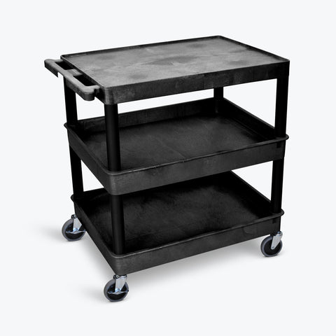 "Luxor 32"" x 24"" 3-Shelf Large Tub Cart with Flat Top, Tub Middle & Bottom Shelves (Black) - TC211-B"