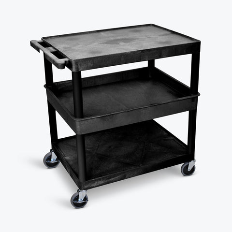 "Luxor 32"" x 24"" 3-Shelf Large Tub Cart with Tub Middle, Flat Top & Bottom Shelves (Black) - TC212-B"