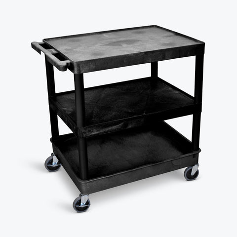 "Luxor 32"" x 24"" 3-Shelf Large Tub Cart (Black) - TC221-B"