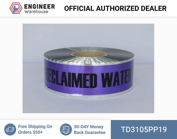 "Trinity Tape Detectable Tape - Caution Buried Reclaimed Water Line Below - Purple - 5 Mil - 3"" x 1000' - D3105PP19"