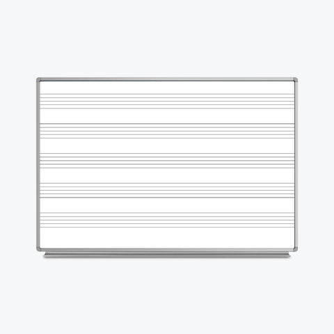 "Luxor Wall-Mountable Music Whiteboard 72"" x 48"" (White/Silver) - WB7248M"