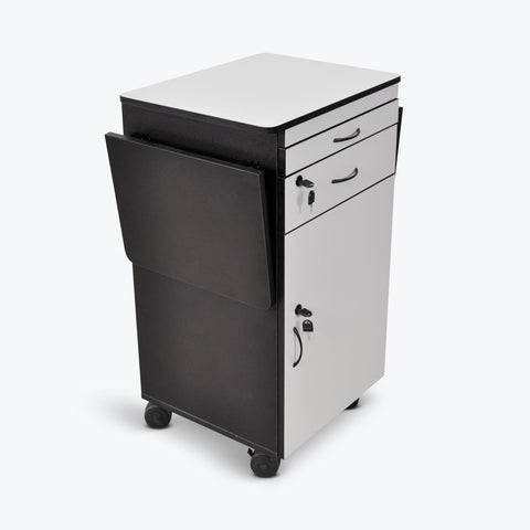 Luxor Mobile Multimedia Workstation with Locking Cabinet (Black/Gray) - WPSDD3