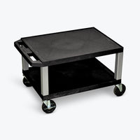 "Luxor 16"" 2-Shelf Tuffy AV Cart with Electric Assembly, Nickel Legs (Black Shelves) - WT16E-N"