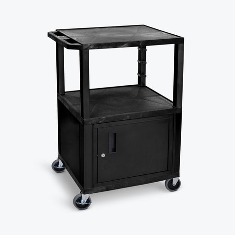 "Luxor 42"" 3-Shelf Tuffy AV Cart with Electric Assembly, Black Cabinet & Legs (Black Shelves) - WT42C2E"