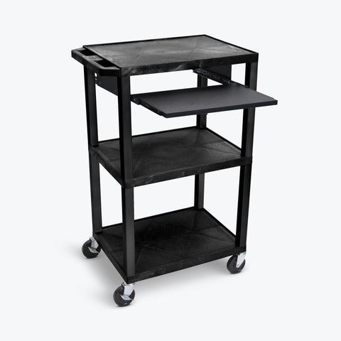 "Luxor 42"" 3-Shelf Tuffy Multi-Purpose Cart with Black Pullout Shelf & Electric Assembly, Black Legs (Black Shelves) - WTPS42E-B"
