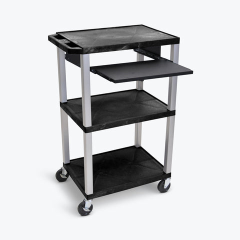 "Luxor 42"" 3-Shelf Tuffy Multi-Purpose Cart with Black Pullout Shelf & Electric Assembly, Nickel Legs (Black Shelves) - WTPS42E-N"