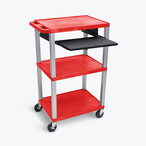"Luxor 42"" 3-Shelf Tuffy Multi-Purpose Cart with Black Pullout Shelf & Electric Assembly, Nickel Legs (Red Shelves) - WTPS42RE-N"