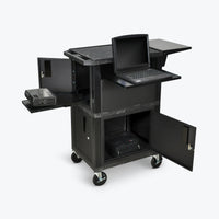 "Luxor 41""H Tuffy Ultimate Presentation Station with Cabinets (Black) - WTPSCE"