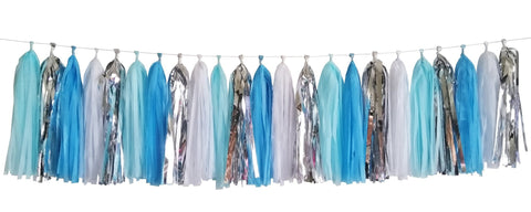 Blue and silver tassel garland. includes baby blue, dark blue, white and metallic silver tassels. Perfect for birthday parties, baby showers and events.