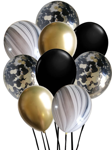 Black & gold balloon bouquet including chrome gold, black, black and white marble and black and gold confetti balloons. Perfect for birthday parties and events.