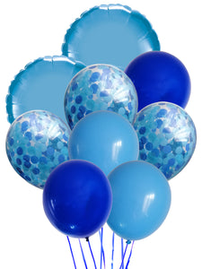 Blue bouquet balloon bundle. Bundle of dark blue, light blue latex balloons, 2 large light blue microfoil balloons and 3 blue confetti balloons.