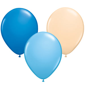 12 Pack of Baby Blue, dark blue and beige Balloons