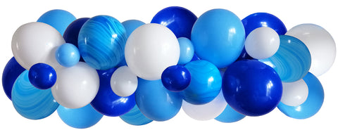 Light blue, dark blue, white latex balloons and marble balloons balloon arch/garland.